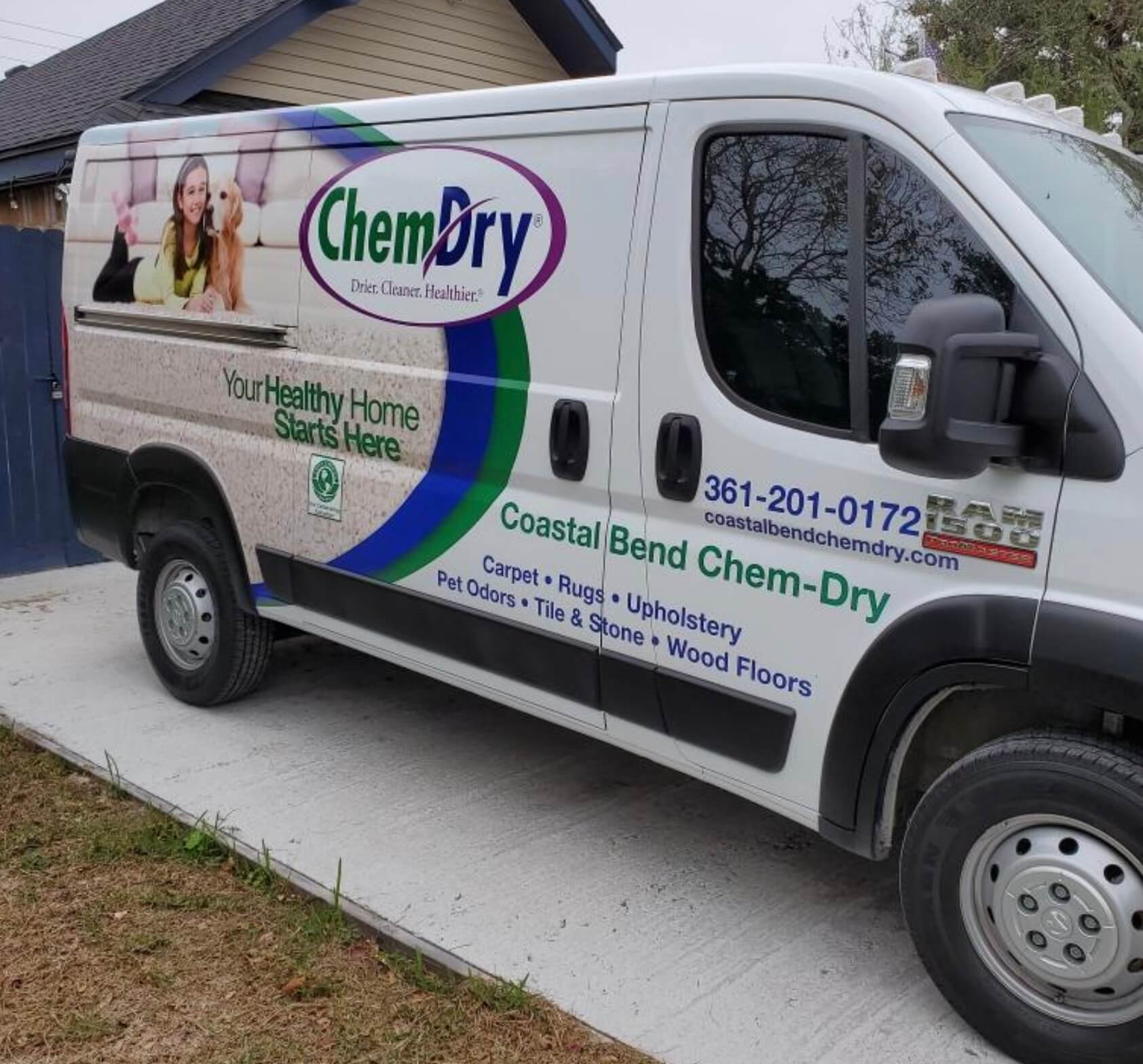 chem-dry technician cleaning upholstery